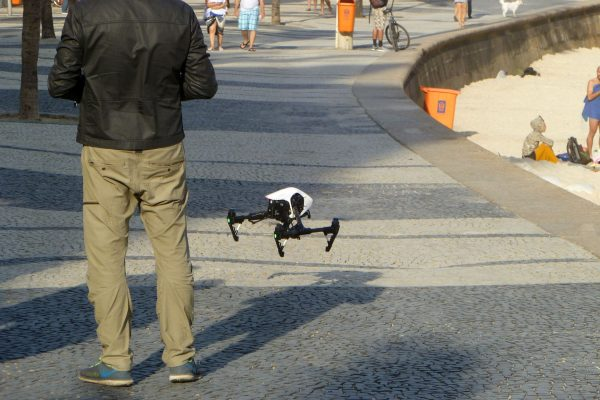 Up close it appears to be a DJI Inspire Pro, with legs lowered for landing.