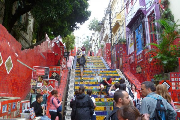 Looking up the Selaron Steps. It goes and goes. I guess the guy liked red.