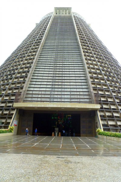 The Metropolitan Cathedral of Rio de Janeiro, a conehead's delight. Actually, extremely striking inside.