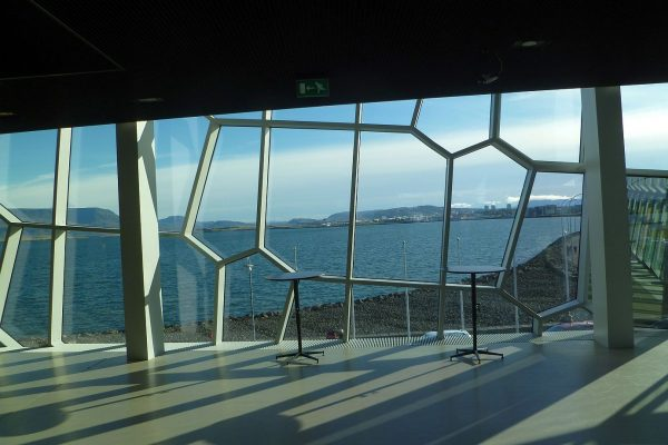 Inside of Harpa, looking out toward the Reykjavik waterfront.