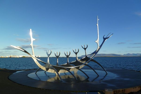 The Sólfar (The Sun Voyager) sculpture along the oceanfront walk in Reykjavik.
