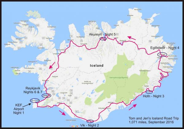 Our overall driving route for our Iceland trip.