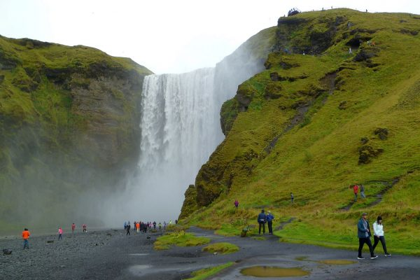 Skogafoss and assorted tourists for scale.