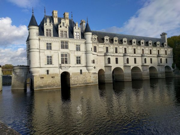 The Chateau Chenonceau built out over the River Cher