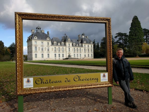 Tourist pic at Chateau Cheverny. The French seem to be very fond of these framed photo ops at many of their sites, but we don't see them in the US.