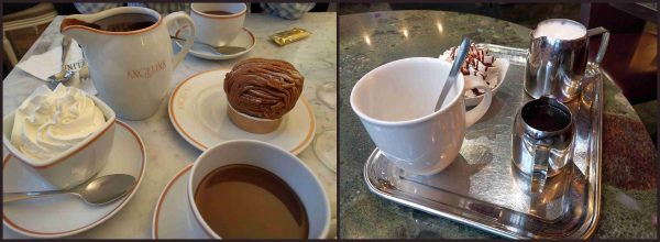 Angelina's on the left, Berthillon's on the right. That big chocolately thing at Angelina wasn't part of the hot chocolate it was just....excess.