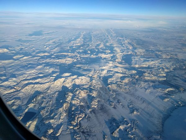 Our view out the window as we returned home over Iceland. It sure didn't look like that when we were there only a couple months earlier.