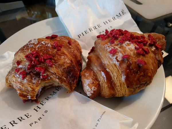 Yay, Ispahan croissants!! AKA, Raspberry-Rose flavored. Really it tastes much better than it sounds.