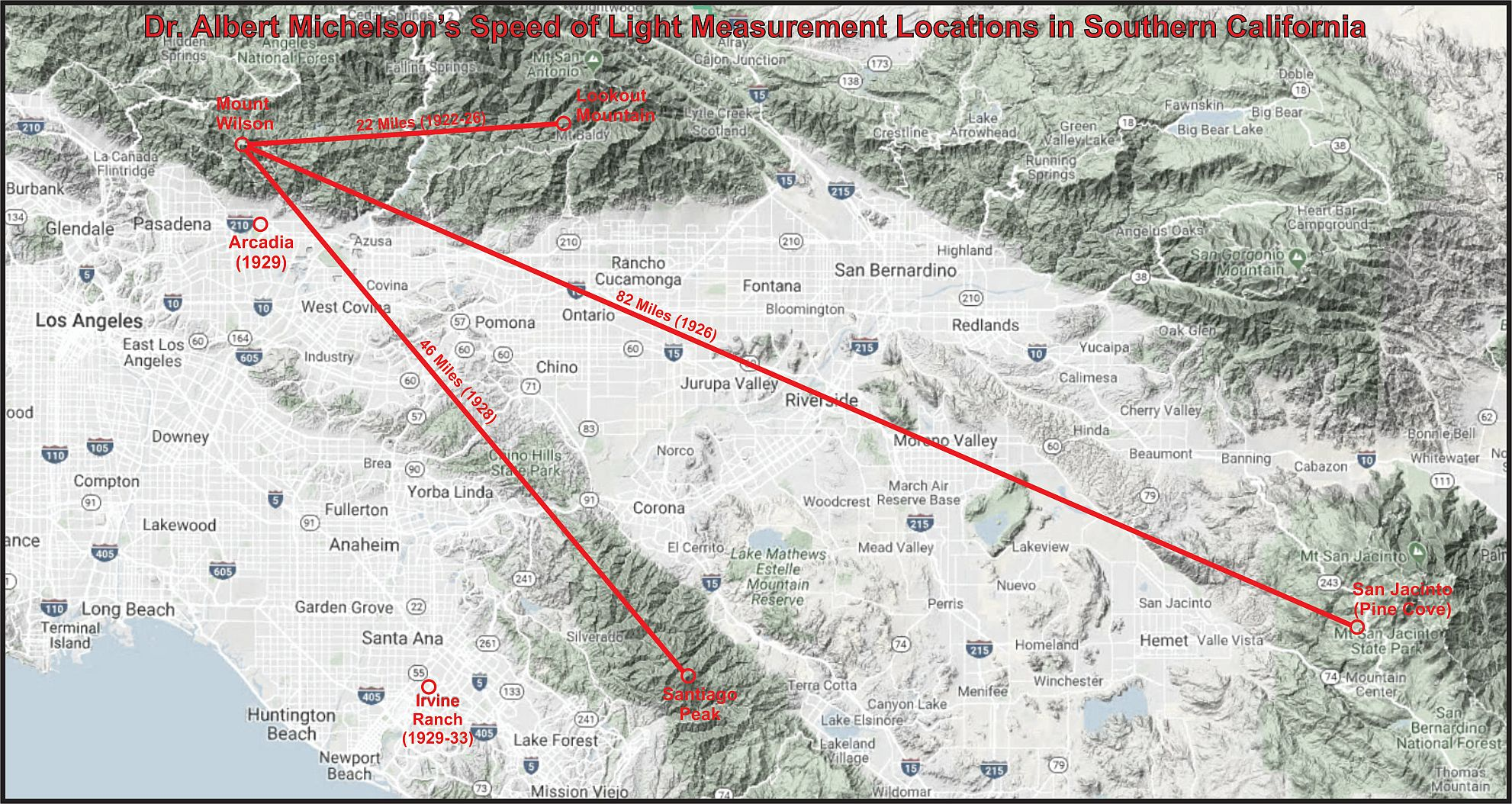 Historic Speed of Light measurements in Southern California